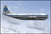 Side view of Pan Am Boeing 377 Stratocruiser 1037V in the air.
