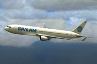Screenshot of Pan Am Boeing 767-300 in flight.