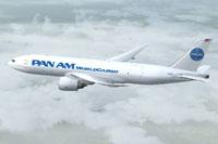 Screenshot of Pan Am Cargo Boeing 777-FNT in flight.