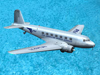 Screenshot of Pan Am Douglas DC-2 flying over water.