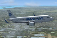 Screenshot of Pan American Embraer Airbus A319NEO CFM in flight.