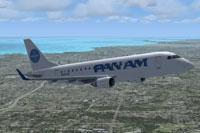 Screenshot of Pan American Embraer E-175 in flight.