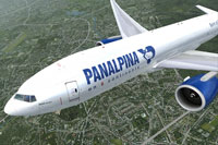 Screenshot of Panalpina Boeing 777-F in flight.