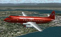 Screenshot of Parcel Force Vickers Viscount in flight.