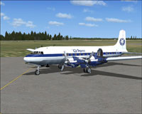 Screenshot of Pegasus Travel Club Douglas DC-6 on the ground.