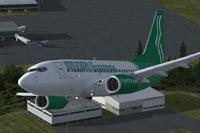Screenshot of People Express Boeing 737-600 in flight.