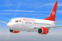 Screenshot of Peruvian Airlines Boeing 737-600 in flight.