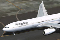 Screenshot of Philippine Airlines Airbus A330-313 on runway.