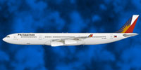 Profile view of Philippine Airlines Airbus A340-300.