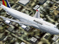 Screenshot of Philippines Airlines Boeing 747-400 in flight.