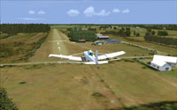 Screenshot of plane on landing approach at Foxpine Airfield.