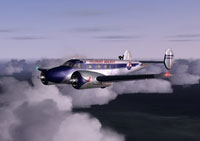 Screenshot of Piedmont Airlines Beech 18 flying above the clouds.