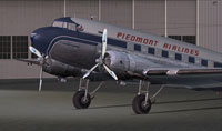 Close up of Piedmont Airlines Douglas DC-3 on the ground.