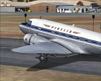 Screenshot of Pionair Douglas DC-3 on runway.