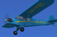 Screenshot of blue Piper J-3 Cub in flight.