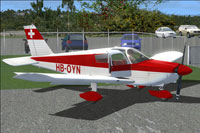 Screenshot of Piper PA-28 HB-OYN on the ground.