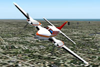 Screenshot of Piper PA-31 Navajo in flight.