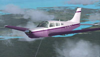 Screenshot of purple and white Piper PA28 TT in flight.
