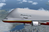 Screenshot of Platinum Airways Airbus A300-600 Beluga in flight.