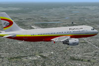 Screenshot of Platinum Airways Airbus A319-100 in flight.