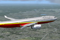 Screenshot of Platinum Airways Airbus A330-200 in flight.