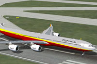 Screenshot of Platinum Airways Airbus A340-600 on runway.