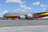 Screenshot of Platinum Airways Airbus A380-800 on the ground.