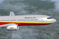 Screenshot of Platinum Airways Boeing 737-800 in flight.