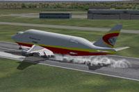 Screenshot of Platinum Airways Boeing 747-400 LCF landing on runway.
