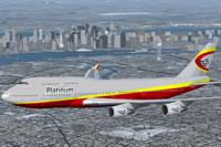 Screenshot of Platinum Airways Boeing 747-400 in flight.