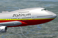 Screenshot of Platinum Airways Boeing 747 SP in flight.