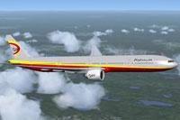Screenshot of Platinum Airways Boeing 777-300 ER in flight.