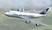 Screenshot of Polar Air Cargo Boeing 747-249F in flight.