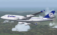 Screenshot of Polar Air Cargo Boeing 747-400 in flight.