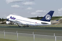 Screenshot of Polar Air Cargo Boeing 747-400 on runway.