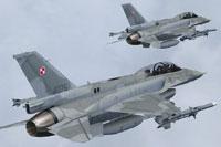 Screenshot of two Polish Air Force Lockheed F-16D in flight.