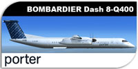 Side view of Porter Airlines Dash 8 Q400 in flight.