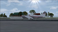 Screenshot of plane on runway at Potronia.