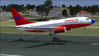 Screenshot of Potronian Air Boeing 737-700 taking off.
