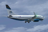 Screenshot of Potronian Air Boeing 737-700 in flight.