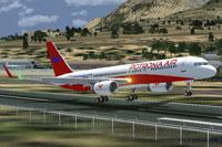 Screenshot of Potronian Air Boeing 757-200 taking off.