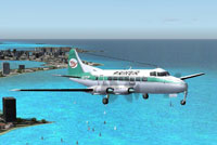 Prinair DeHavilland Heron DH 114 flying away from a coastal city.