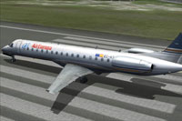 Screenshot of Privilege Style (Air Europa) Embraer 145 on runway.