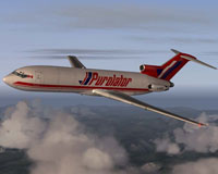 Screenshot of Purolator Boeing 727-200 in flight.