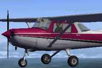 Screenshot of purple and white Cessna in the air.