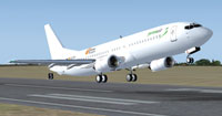 Screenshot of Pyrenair Boeing 737-4Y0 taking off.