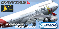 Screenshot of Qantas 'Boxing Kangaroo' Boeing 747-400.
