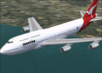 Screenshot of Qantas Boeing 747-338RR in flight.