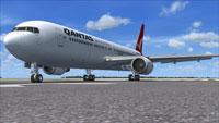 Screenshot of Qantas Boeing 767-300 on runway.