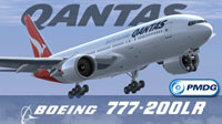 Screenshot of Qantas Boeing 777-200LR taking off.